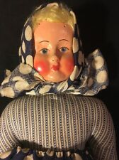 "Antique Handmade marked ""Poland"" Doll wood stuffed 10"""