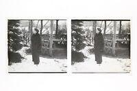 Francia Mujer A Abrigo Foto n46L4-15 Placa Cristal Estéreo Vintage