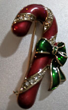 Holiday Pin Candy Cane with Holly Christmas Jewelry