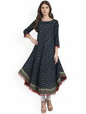 Indian Bollywood Women's Cotton Printed Blue Anarkali Kurtis