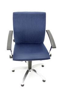 Grammer Move6A Bürostuhl -feste Armlehnen-Bezug blau -Gestell chrom