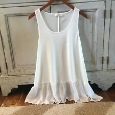 1XL New White Ruffled Layering Tunic Tank Top Women's Plus Size Top Extender