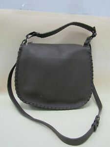 Allsaints Mori Mink Gray Women's Taupe Gray Pebbled Leather Crossbody Bag