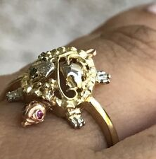GOLD Good Luck Turtle Ring 14k lucky tri simulated ruby 7 5 6 8 9 3g