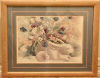Watercolour Print Helen Paul 1985 Porcelain Rabbits Matted Framed 30 x 24