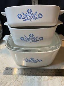corningware cornflower square baking set Of 4 Casseroles