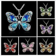 Kette mit Schmetterling-Anhänger versch.Farben, Emaille & Strass, Neu