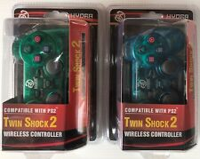 Lot of 2 PS2 Wireless Double Joysticks Vibration Control Clear Green and Blue