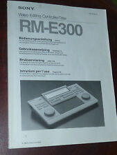 manual MANUEL video editing SONY RM-E300 GERMAN svenska NEDERLANDS italiano