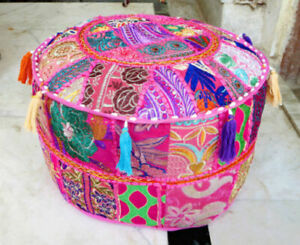 New Pouf Cover Cotton Vintage Ottoman Indian Handmade Patchwork Round Foot Stool