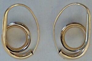 """""""SCAVEZZE"""" 14 KARAT YELLOW GOLD PAIR OF LOOPY EARRINGS FOR PIERCED EARS"""