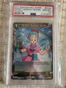 Dragon Ball Super TCG Perfect Support Bulma P-034 FOIL Promo! PSA10. POP 4