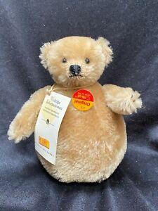 STEIFF ROLLY POLLY MOHAIR TEDDY BEAR WITH TAGS AND BUTTON