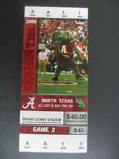 2009  Alabama vs North Texas Football Ticket Official Reproduction