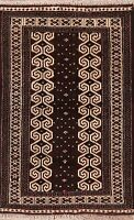Geometric Balouch Afghan All-Over Area Rug Wool Hand-Knotted Oriental Carpet 3x4
