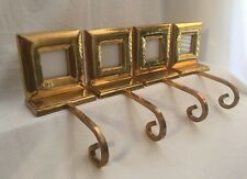 4 Vintage Brass Stocking Hanger with Picture Frame Heavy Rare Christmas Holiday