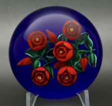"""RANDALL GRUBB Five Red Rose Flowers Art Glass 1990 Paperweight,Apr 3""""Wx2.5""""H"""