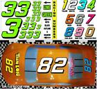 LIME GREEN  (#3's) Racing Numbers Decal Sticker Sheet 1/8-1/10-1/12 | RC Models