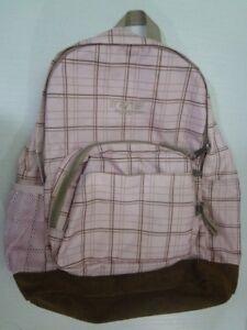 "JanSport Trans Leather Bottom Backpack 16"" Pink Brown Plaid School Travel"