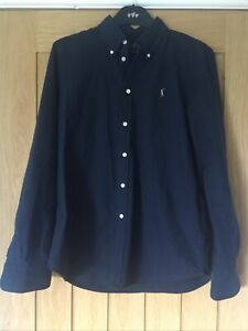 Ralph Lauren Navy Shirt Large Mens Smart Office Casual Collared Slim Fit Cotton