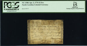 North Carolina Colonial Currency Fr#NC-158b April 2, 1776 $2 PCGS 15 *7 Known*