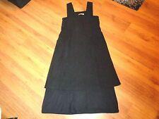 ANNETTE GORTZ BLACK STRETCH WOOL CREPE BLEND LAYERED LONGLINE SLEEVELESS DRESS