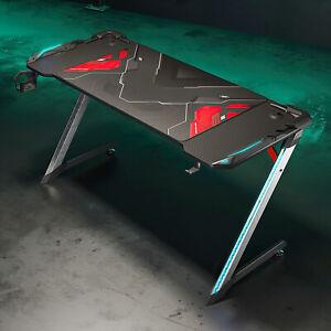 Pc Gaming Tisch Computertisch Schwarz 140cm Schreibtisch Gamer Tisch Carbon LED