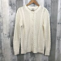 LL BEAN Cable Knit Sweater Cardigan Women's Size Medium Ivory Button Front Ivory