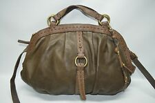 Lucky Brand Brown Genuine Leather Zip Dome Convertible Satchel Shoulder Bag