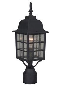 Craftmade Z275 Black Grid Cage 1-Light Outdoor Post Light