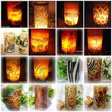 Runde Windlicht Tischdeko Afrika Wilde Tier Fell Geschenk Auswahl 20 Motiven