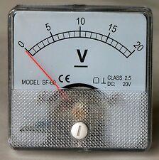 DC Analog Volt Meter Panel Mount 0-20 VDC  PM020-DC