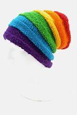 NEPAL TIBETAN HANDMADE WOOL RAINBOW BEANIE HAT