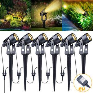 6er LED Gartenstrahler mit Erdspieß Gartenleuchte Spotbeleuchtung Außen Warmweiß