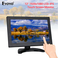 """Eyoyo 12"""" IPS Touch Screen HDMI Monitor VGA USB 1080P with Loudspeaker for PC"""