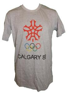 New 1988 Calgary Canada Olympics Mens Size S-M-L-XL Licensed Gray Shirt