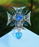 Silver tone ornate Maltese cross with  blue glass heart BROOCH  rhinestones