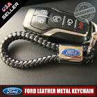 For Ford Black Leather Metal Keychain With Logo Emblem Decoration Gift