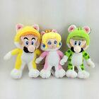 3X Super Mario Bros 3D World Cat Form Mario Luigi Princess Peach Soft Plush Toy
