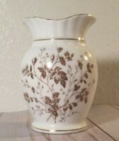 Royal Maddock & co Brown floral with gold small vase stone China Burslem England