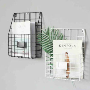 Simple Style Wire Magazine Newspaper Basket Wall Mounted Post Storage Rack Black