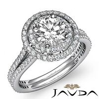 2 Row Halo Pave Set Round Cut Diamond Engagement Ring GIA F SI1 Platinum 2.55ct