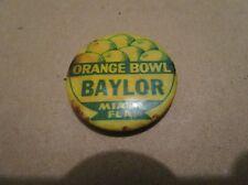 """Vintage 1952 Baylor Bears Orange Bowl Pin-1&1/4"""""""