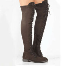 Womens Ladies Knee High Boots Lace Up Zip Low Mid Heel Flat Riding Shoes Size