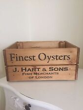 Wooden Finest Oysters J Hart & Son Vintage Style Design Wine Crate Box Storage