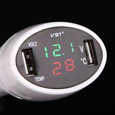 12V/24V LED Car Temp Volt Meter Voltmeter Cigarette Lighter Charger W/ Dual USB