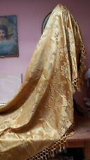 ANTIQUE SILK SHAWL FABRIC COVER GOLD DAMASK JACQUARD BROCADE 18th 19TH CENTURY