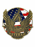 PinMart's Proudly Served Veteran Eagle Patriotic Enamel Lapel Pin
