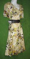 Peter Nygard Khaki Beige Multi Cotton Fit&Flare Collar Belt Social Dress 6 $138
