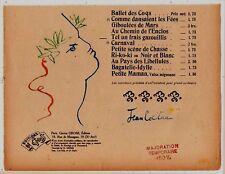 J. Cocteau approx. 1926 signed aquarel drawing on music score de G. Gross - COA